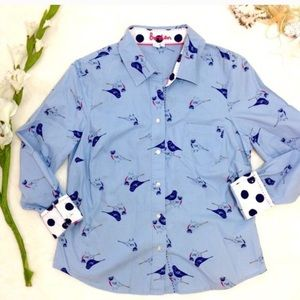 Boden Sparrow Bird Button Down 100% Cotton